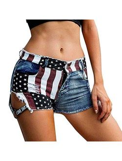 AYOMIS Women's Low Waist Mini Hot Pants Denim Hot Pants High Waist Beach Shorts Clubwear