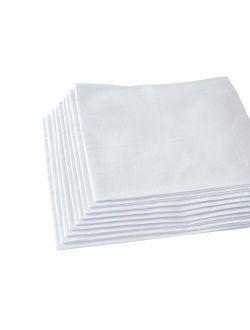 Men's Handkerchiefs,100% Soft Cotton,White HankiePack of 12 Pieces