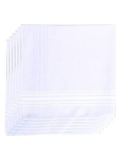 6 Pack Cotton Handkerchiefs Solid White
