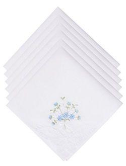 SelectedHanky Women's Cotton Handkerchiefs Flower Embroidered with Lace, Ladies Hankies