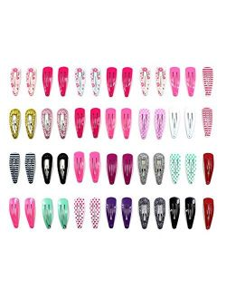 Zapire 52pcs Small Hair Clips for Girl No Slip Snap Barrettes for Toddlers Girls Kids Women Hair Accessories
