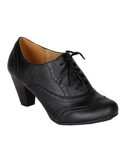 Women's Cuban Heel Ankle Booties Oxfords