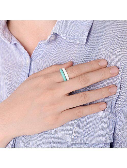 Egnaro Braided Silicone Wedding Ring for Women