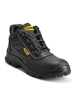 Black Hammer Mens Leather Safety Waterproof Boots S3 SRC Steel Toe Cap Work Shoes Ankle Leather 1007