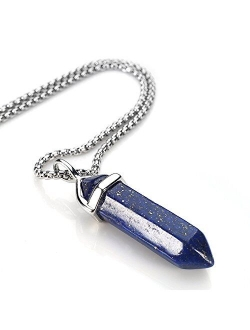 BEADNOVA Gemstone Crystal Necklace for Women Healing Stone Pendant Jewelry for Men Pendulum Divination Energy Healing Hexagonal Pendent (18 Inches Stainless Steel Chain)