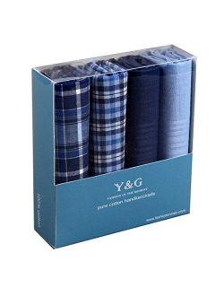 Y&G Men's Fashion Handmade Fabric 4 Pack Cotton Handkerchiefs Set Pretty Designer