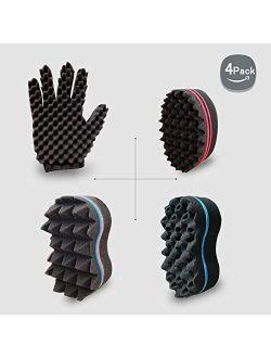 Curl Twist Sponge Glove and Big Holes Hair Brush Double Sided Sponge
