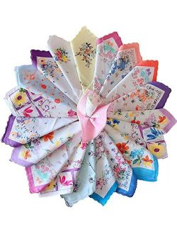 Forlisea Womens Beautiful Cotton Floral Handkerchief Wendding Party Fabric Hanky 10pcs/9.99 20pc/20.99