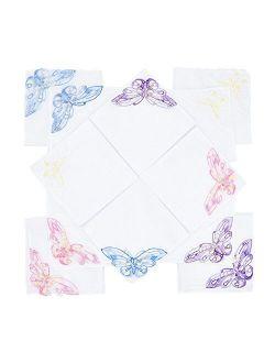 SelectedHanky Women's Cotton Handkerchiefs with Butterfly Lace at Corner, Ladies Hankies