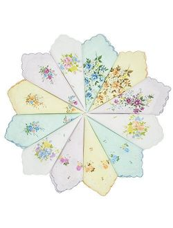 GB Women's 100% Cotton Handkerchiefs Assorted with Wavy Edge and Print Floral