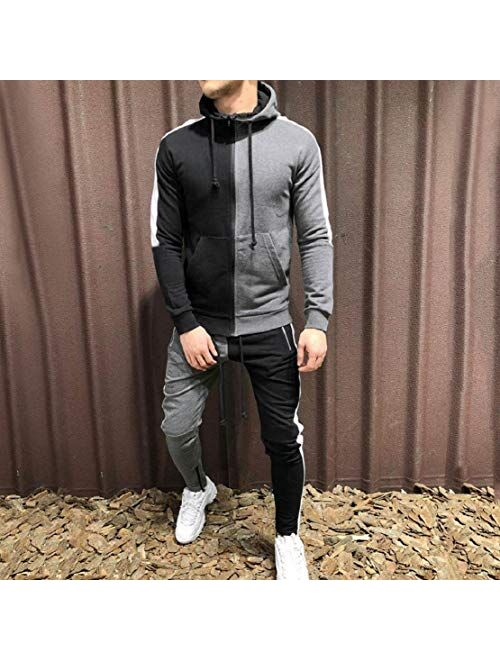 Mens Tracksuit 2 Piece Sport Pants Hooded Jacket Sweatsuit Athletic Hoodie Sets