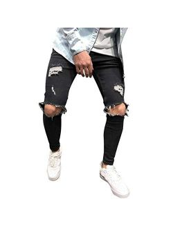 Men's Skinny Stretch Denim Pants Distressed Ripped Freyed Slim Fit Jeans Trousers with Zipper Pockets
