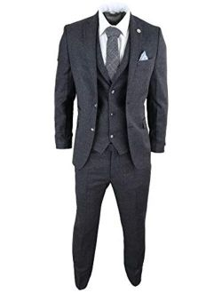 TruClothing.com Mens Wool 3 Piece Suit Tweed Charcoal Black Tailored Fit Peaky Blinders Classic Black 36