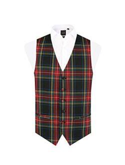 Dobell Mens Green Tartan Vest Regular Fit 5 Button Waistcoat