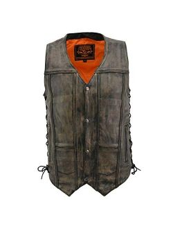 Milwaukee Leather MLM3540 Men's Distressed Brown 10 Pocket Leather Vest with Gun Pockets - Large