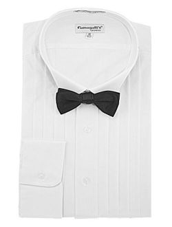 100% Cotton, Wing Collar, Tuxedo Shirt (big And Tall) With Bow-tie