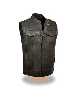 Milwaukee Leather LKM3710 Men's Black Club Style Leather Vest with Open Neck and Gun Pockets - Medium