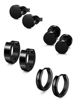 Jstyle 4 Pairs Stainless Steel Stud Earrings for Men Women Hoop Earrings Huggie Piercing 18G