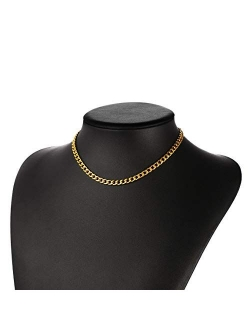 ChainsPro Mens Sturdy Cuban Chain Necklace, 4/5/6/9/12/13/15 MM Width, 14
