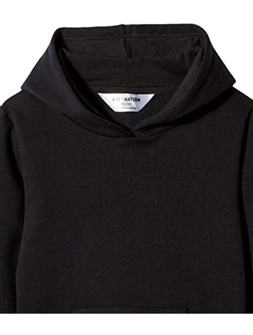 Kid Nation Kids' Soft Brushed Fleece Casual Basic Pullover Hooded Sweatshirt Hoodie for Boys or Girls 4-12 Years