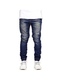 Sarriben Men's Distressed Slim Fit Drop Crotch Elastic Denim Jogger Jeans