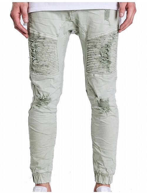 Mens Jeans Sage Green Moto Distressed Jogger Stretch $150 33