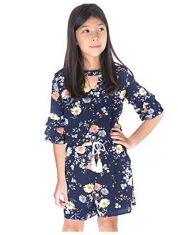 Smukke, Big Girls Tween Floral Printed Tier Ruffle Sleeves Romper (Many Options) with Pockets, 7-16