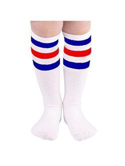 Zando Kids Child Cotton Three Stripes Sport Soccer Team Socks Uniform Tube Cute Knee High Stocking for Boys Girls