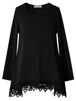 Girls Tunic Top Lace Long Sleeve Unicorn Tee Loose Fit Soft Blouse Swing T-Shirt
