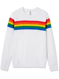 Kid Nation Girls' Pullover Rainbow Sweater for Kids Cotton Knit Sweater