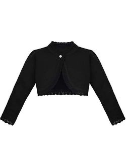 Lilax Little Girls' Knit Long Sleeve Button Closure Bolero Cardigan Shrug