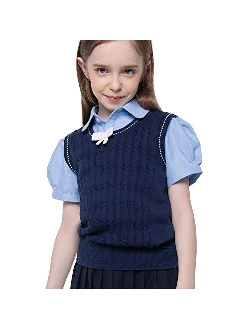 Benito & Benita Girl's Sweater Vest School Vest V-Neck Uniforms Cotton Pullover with Bows for Girls 3-12Y