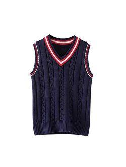 Cotton Impression Boys Girls Uniform Vest V-Neck Sweater Vest Sleeveless Knit School Sweater