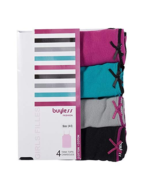 Buyless Fashion Girls Cami Undershirts Cotton Tank with Trim and Strap (4 Pack)