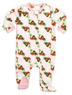Fleece Baby Girls Footed Pajamas Sleeper Kids & Toddler Pajamas (3 Months-5 Toddler)
