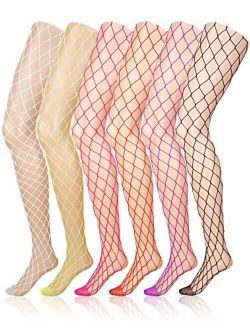6 Pairs Fishnet Stockings Women's High Waist Fishnet Tights for Girls Ladies (Multicolored, XL Hole)