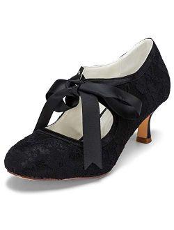 JIAJIA 140311 Stiletto Heel Lace Satin Pumps Ribbon Tie Bridal Wedding Shoes