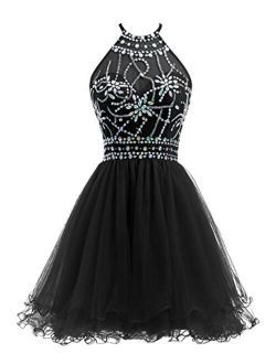 Ellames Women's Beaded Halter Homecoming Dress Short Tulle Prom Dress