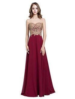 Sarahbridal Juniors Sweetheart Bridesmaid Dresses Chiffon Long Prom Evening Gown Pleated