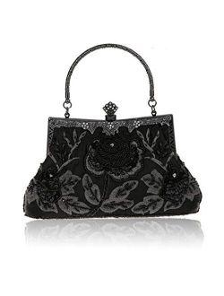 MMYOMI Women Vintage Floral Beaded Rhinestone Embroidery Clutch Evening Handbag