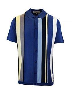 Mens Short Sleeve Knit Sports Shirt - Modern Polo Vintage Classics: Vertical Stripe Color Block