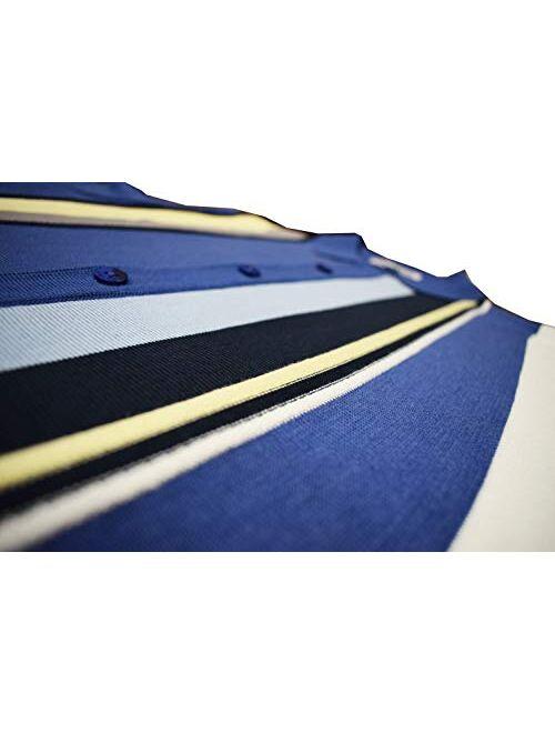 Stacy Adams Mens Short Sleeve Knit Sports Shirt - Modern Polo Vintage Classics: Vertical Stripe Color Block
