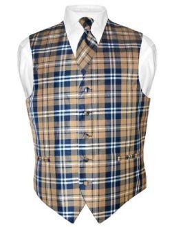 Men's Plaid Design Dress Vest & Necktie Navy Brown White Neck Tie Set