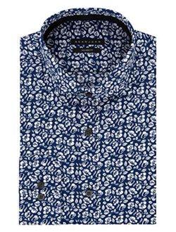 Men's Regular Fit Print Spread Collar Dress Shirt