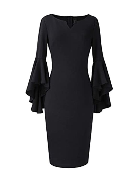 VFSHOW Womens Notch V Neck Ruffle Bell Sleeve Cocktail Party Bodycon Pencil Dress