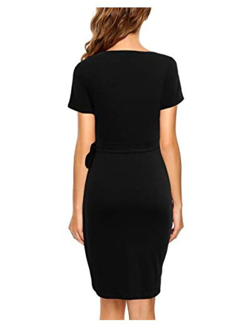 Lyrur Women's Classic V-Neck Casual Party Knee Length Sheath Work Short Sleeve Faux Black Wrap Dress