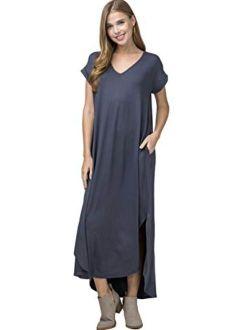 Entro Women's Short Sleeve V Neck Loose Fit Knit Maxi Dress with Hi Low Hem