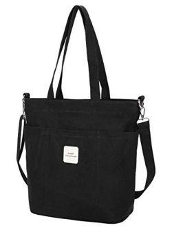 Iswee Canvas Women Shoulder Bag Casual Tote Bag Top Handle Bag Cross-body Handbags
