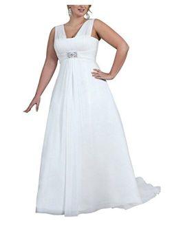 SlenyuBridal Plus Size Wedding Gown Strap Chiffon 2020 Wedding Dresses for Women