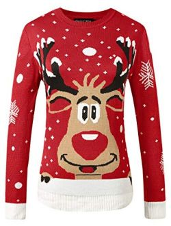 Hanlolo Womens Ugly Christmas Sweater Cute Reindeer Snowflakes Long Sleeve Xmas Holiday Party Knitted Pullover
